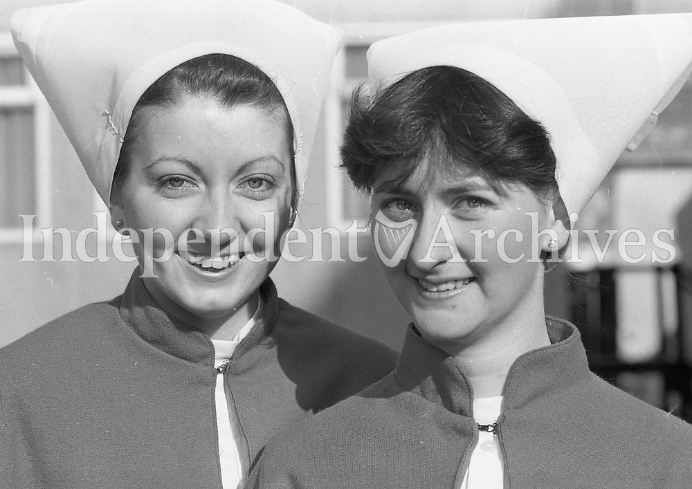 Two nurses on their graduation in February 1986, location unknown.<br /> (Part of the Independent Ireland Newspapers/NLI Collection)