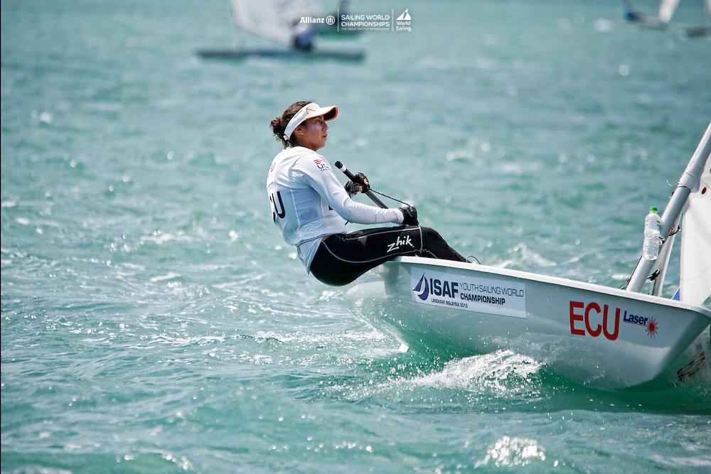 EcuadorLaser RadialWomenHelmECUMR1Maria DanielaRodriguez<br />Day5, 2015 Youth Sailing World Championships,<br />Langkawi, Malaysia