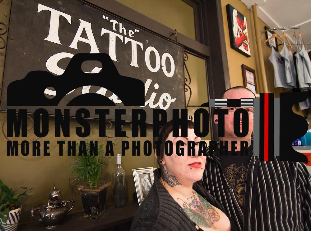 01/20/11 Wilmington DE: Poppycock Tattoo Shoppe owners Tina Marabito and Pat McCutcheon at their shop in Wilmington Delaware  Thursday afternoon...Special to The News Journal/SAQUAN STIMPSON