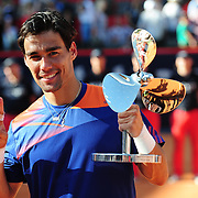 Fabio Fognini (ITA) holding the trophy after winning the final of the Bet-At-Home Open at Rothenbaum in Hamburg, Germany, July 21, 2013. Photo: Miroslav Dakov