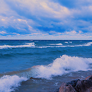&quot;Morning on the Waves&quot; <br /> <br /> A really lovely morning on Lake Michigan in the Upper Peninsula along the shore. Beautiful white capped waves, blue water, and wonderful clouds!