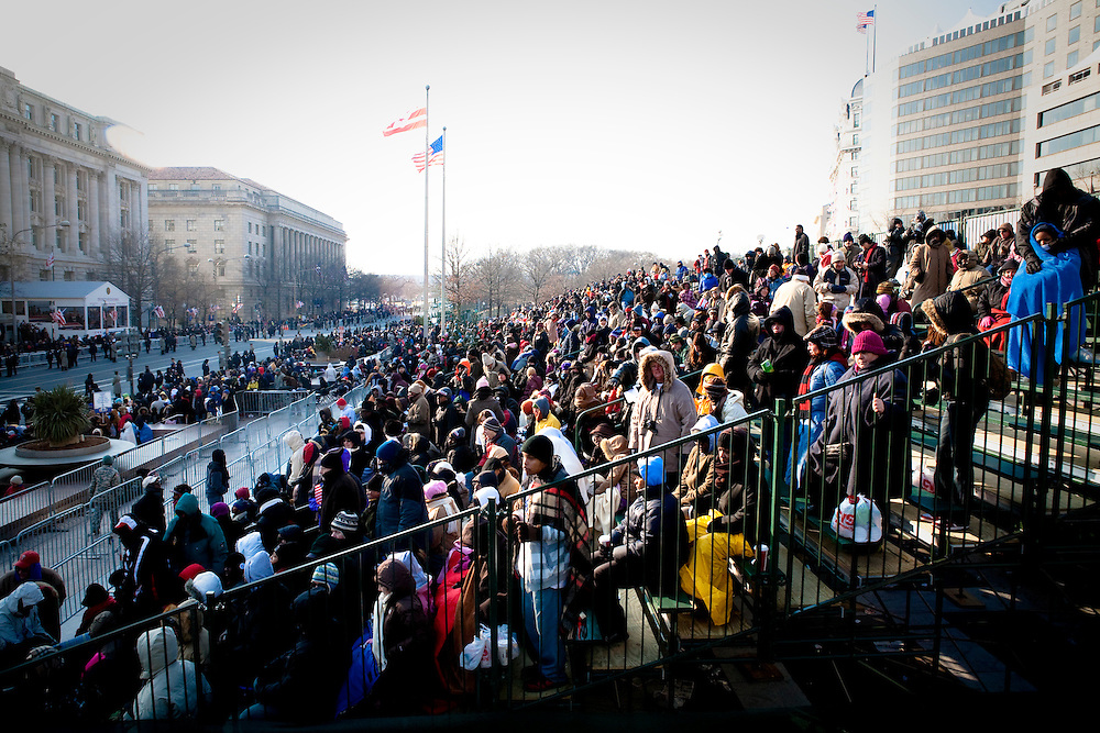 WASHINGTON - JANUARY 20: Crowds filled viewing stands at Freedom Plaza to watch President Barack Obama's Inaugural Parade on January 20, 2009 in Washington, DC. President Obama was sworn in as the country' 44th president at noon today. (Photo by Brendan Hoffman/Getty Images)