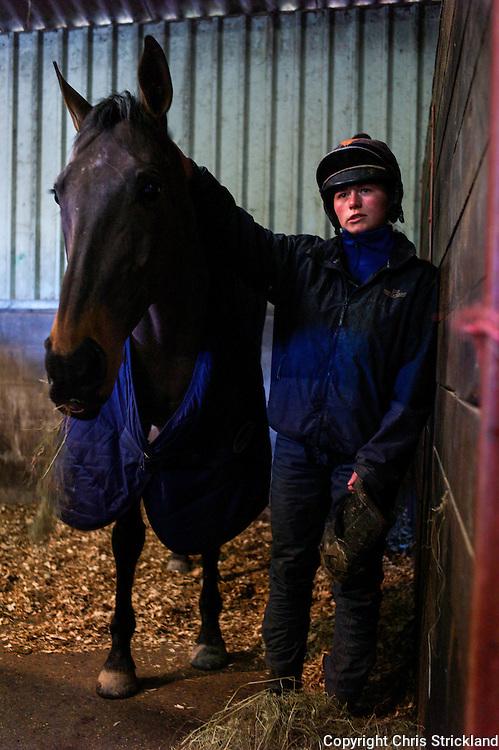 Jockey Joanna Walton at home with racehorse Moulton Brown.