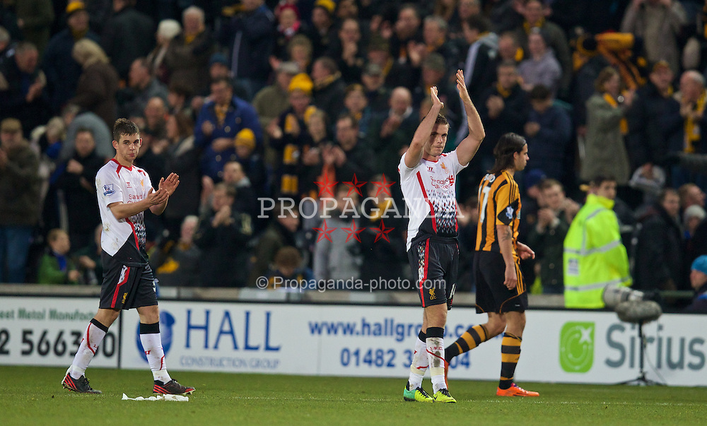 HULL, ENGLAND - Sunday, December 1, 2013: Liverpool's Jordan Henderson applauds the supporters as he walks off dejected following a 3-1 defeat to Hull City during the Premiership match at the KC Stadium. (Pic by David Rawcliffe/Propaganda)