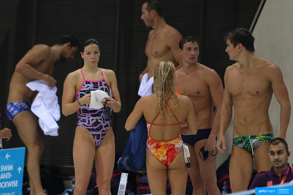 The USA swim team at the Aquatic Centre at Olympic Park, Stratford during the London 2012 Olympic games preparation at the London Olympics. London, UK. 23rd July 2012. Photo Tim Clayton