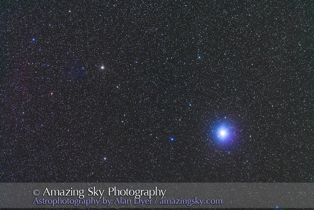 Canopus, the second brightest star in the night sky. The star at left is Tau Puppis. The Carina Dwarf Galaxy is between the two stars but invisible here. <br /> <br /> Shot with the 200mm lens to simulate a binocular field of view. A stack of 2 x 2-minute exposures at f/2.8 and Canon 5D MkII at ISO 2000,