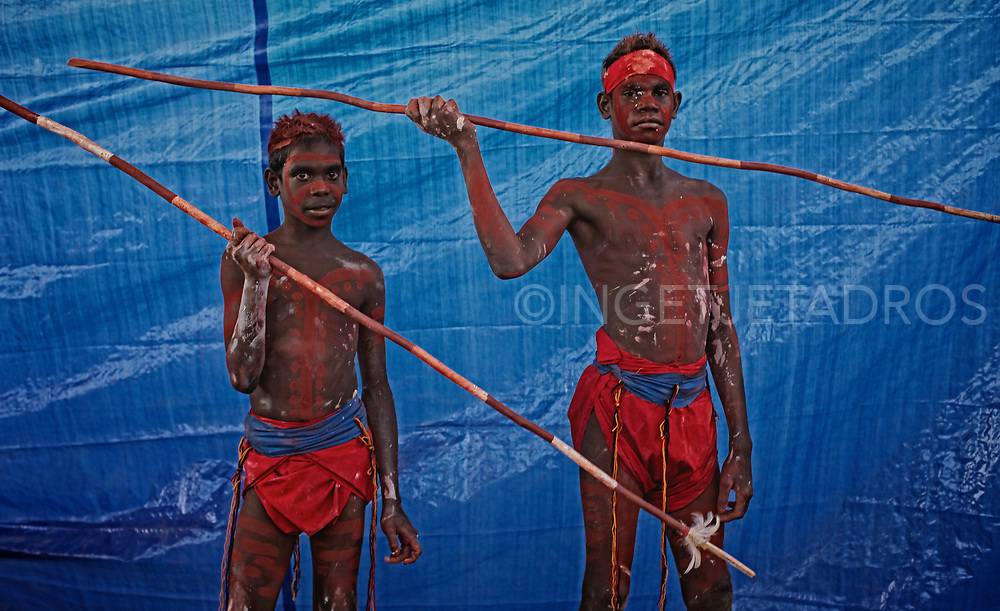 Young boys showing off their handmade spears during the Mowanjum Festival. The Festival attracts thousands of visitors from across Australia, travelling to witness and take part in one of Australia's largest cultural celebrations. Derby, WA