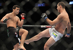 May 8, 2010; Montreal, Quebec; CAN; Mauricio Rua (white) knocks out Lyoto Machida (black) in the first round of their UFC Light Heavyweight Championship fight at UFC 113.