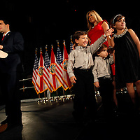 CORAL GABLES, FL -- November 2, 2010 -- Republican Senate candidate Marco Rubio speaks with his family at The Biltmore Hotel in the Coral Gables area of Miami, Fla., on the Mid-Term Election Day on Tuesday, November 2, 2010.  Rubio won the three-way race for the seat over Independent Gov. Charlie Crist and Democrat Kendrick Meek.