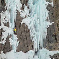 Jon Walsh Ice Climbing along the Icefields Parkway