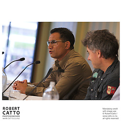 Temuera Morrison and director Vincent Ward answer questions at the press conference before the premiere of the film River Queen in Wanganui, New Zealand.
