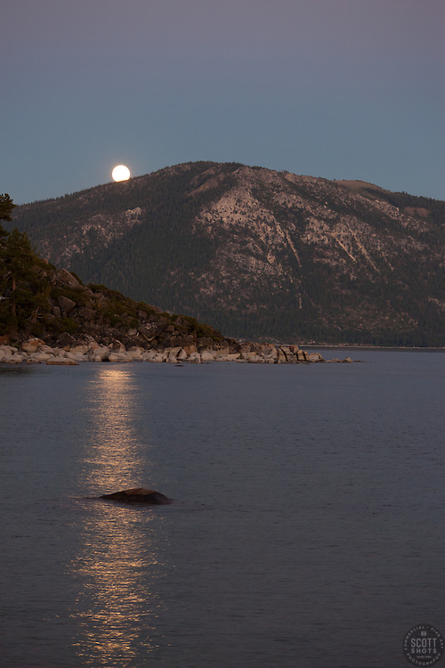 """""""Full Moon over Lake Tahoe 5"""" - This rising full moon was photographed at sunset from Speed Boat Beach, Lake Tahoe."""