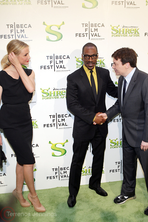 "21 April 2010- New York, NY- l to r: Cameron Diaz, Eddie Murphy and Mike Meyers at The World Premiere of Dreamwork Animation's "" Shrek Forever After "" for the Opening Night of the 2010 Tribeca Film Festival held at the Zeigfeld Theater on April 21, 2010 in New York City."
