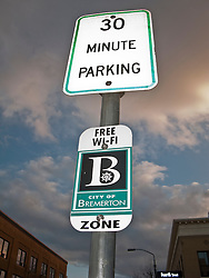 30 min parking free WI-FI zone sign in downtown Bremerton, Washington, USA
