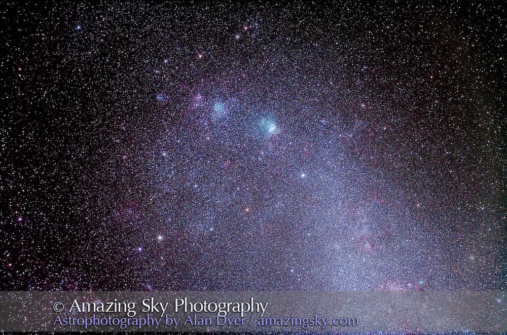 A closeup of the most interesting region of the SMC, the Small Magellanic Cloud, showing the prominent emission nebula NGC 346 (above centre) and nearby clusters, gthe globular NGC 330 below and the open clusters NGC 371 (with associated cyan nebulosity) and NGC 395 (also with pink nebulosity) above. This is a stack of 8 x 10 minute exposures at ISO 640 with Canon 5D MkII and 105mm Astro-Physics Traveler apo refractor. However, several exposures had cloud through some of the time and so were not fully exposed for the full 10 minutes. I kept the system tracking thru out regardless. Taken from Timor Cottage, Cooonabarabran, Australia, December 10, 2012.