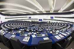 General view of the hemicycle. The city of Strasbourg (France) is the official seat of the European Parliament. The Parliament's buildings are located in the Quartier Européen (European Quarter) of the city, which it shares with other European organisations which are separate from the European Union's. Previously the Parliament used to share the same assembly room as the Council of Europe. Today, the principal building is the Louise Weiss building, inaugurated in 1999.