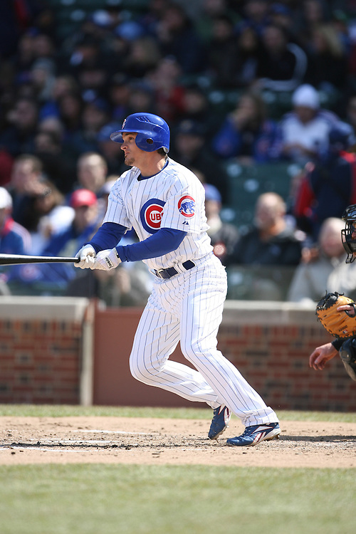 CHICAGO - APRIL 4:  Ryan Theriot #2 of the Chicago Cubs bats during the game against the Houston Astros at Wrigley Field in Chicago, Illinois on April 4, 2008.  The Astros defeated the Cubs 4-3. (Photo by Ron Vesely)