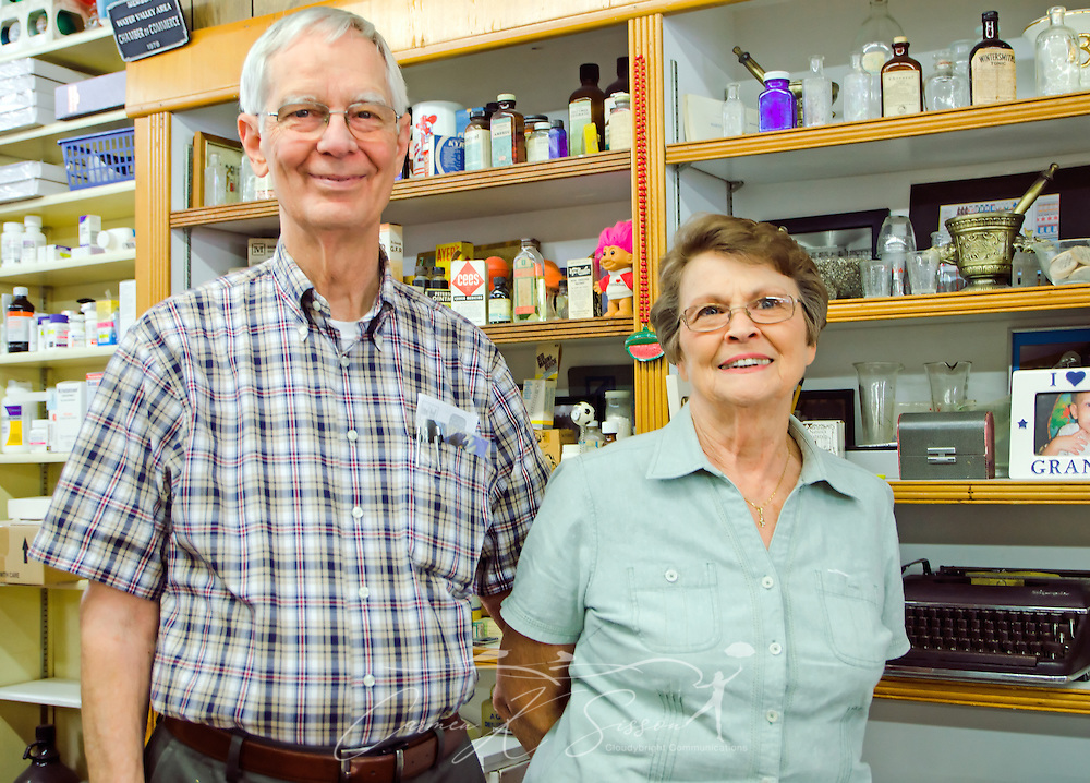 Proprietors of Turnage Drug Store in Water Valley, Mississippi. (Photo by Carmen K. Sisson/Cloudybright)