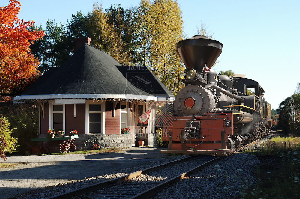 A Vintage locomotive in Yarmouth Station in Maine during the fall season