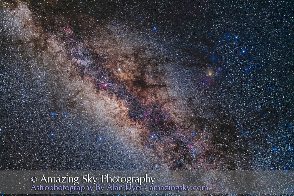 The spectacular area around the Galactic Centre of the Milk Way in Scorpius (at right) and Sagittarius (at left) as shot from Australia with this area nearly overhead in the wee hours of an April morning. <br /> <br /> Saturn is left of centre. Yellow Antares is right of centre. <br /> <br /> The region is rich in nebulas and star clusters. The Dark Horse and Pipe Nebula is above centre. The Sagittarius Starcloud is left of centre. The Small Sagittarius Starcloud, M24, is at upper left in the Milky Way. <br /> <br /> This is a stack of 5 x 3-minute exposures with the 35mm Canon L-Series lens at f/2.8 and filter-modified Canon 5D MkII at ISO 1600, with an additional exposure taken through the Kenko Softon A filter layered in to add the star glows.