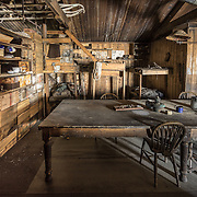 """Cape Evans wardroom table and the """"tenements"""" bunks."""