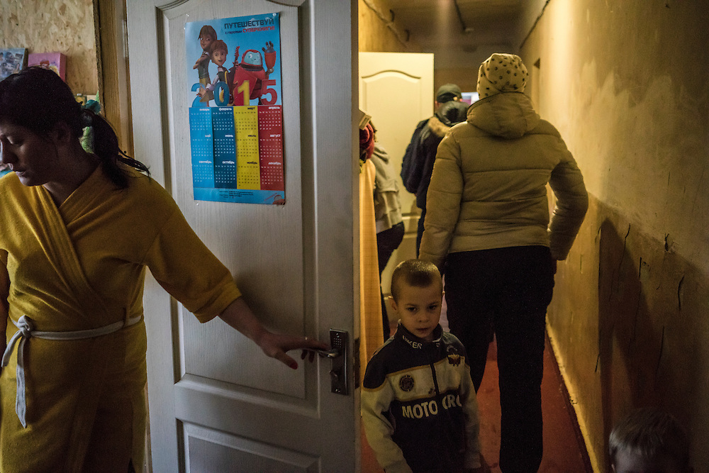 One of the dormitory-like residence halls at Romashka, a summer camp where several hundred people live after being displaced by fighting in Eastern Ukraine on Friday, February 13, 2015 in Kharkiv, Ukraine.
