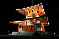 The construction of Daito was started by Kobo Daishi in 816 and was completed in 887 by Shinzen Daitoku. This massive structure represents the ideals of Shingon Buddhism and is known as the Fundamental Great Stupa. In Japan, this building was the first pagoda built in the tahoutou style.