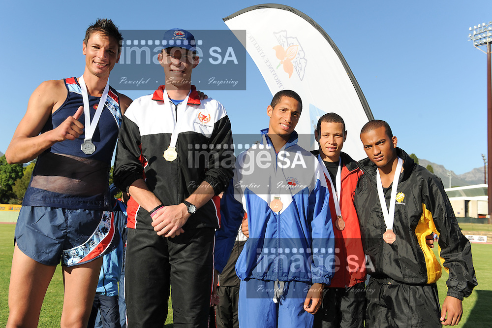 STELLENBOSCH, South Africa - Saturday 13 April 2013, Jacques Freitag, Ruan Claasen, Clyde Ruiters, Garth Ellis and Keagan Forie with their medals in the mens high jump during day 2 of the South African Senior Athletics championships at the University of Stellenbosch's Coetzenburg stadium..Photo by Roger Sedres/ ImageSA