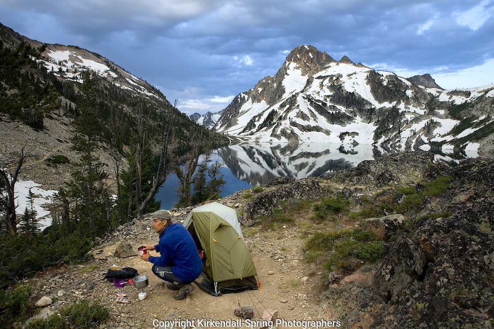 ID00079-00...IDAHO - Campsight at Sawtooth Lake with Mt Regan behind in the Sawtooth Wilderness. (MR #K1)