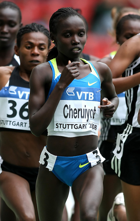 (Stuttgart, Germany---14 September 2008) Vivian Cheruiyot of Kenya running to second in the 3000m (8:44.64) at the 2008 World Athletics Final. [Copyright Sean W. Burges/Mundo Sport Images, 2008.]