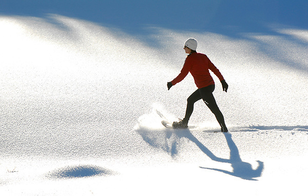 Luis Garneau snowshoes in action at Sun Peaks Resort, British Columbia Canada.