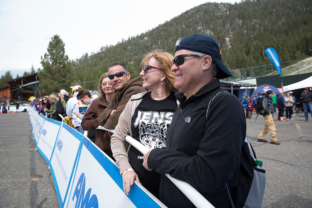 Texas residents Sal (hat) and Jeri Lara wait for the finish of stage five of the Amgen Tour of CaliforniaThursday, May 19, 2016 in South Lake Tahoe, Calif.