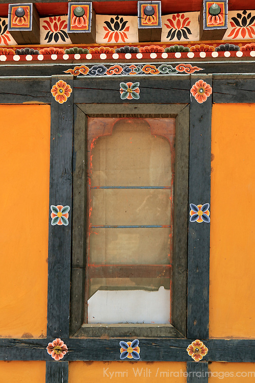 Asia, Bhutan, Thimpu. Window detail of typical Bhutanese architecture.