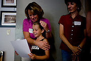 Debbie Bonenfant of Granite Bay congratulates her daughter Sophia, 8, on getting selected for the Sacramento Ballet's Nutcracker production on Sunday, September 10, 2006. (Photo by Max Whittaker)