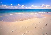 6207-1013 ~ Copyright: George H. H. Huey ~ Beach at Shoal Bay East [aka Upper Shoal Bay], with footprints in sand. Island of Anguilla, Leeward Islands, Lesser Antilles, Caribbean.