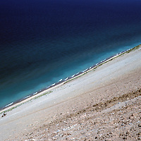 USA, Michigan, Sleeping Bear Dunes National Lakeshore. Tiny climbers scale the dune at Sleeping Bear Dunes.