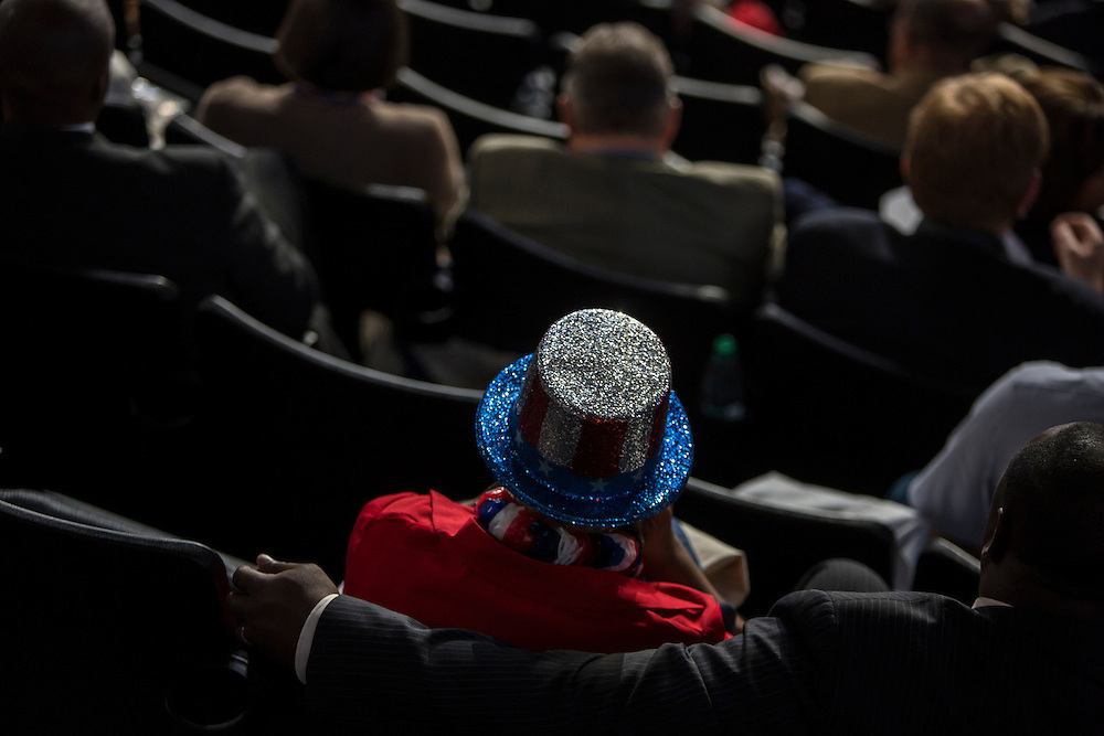 A woman wears a flag-themed hat at the Democratic National Convention on Tuesday, September 4, 2012 in Charlotte, NC.