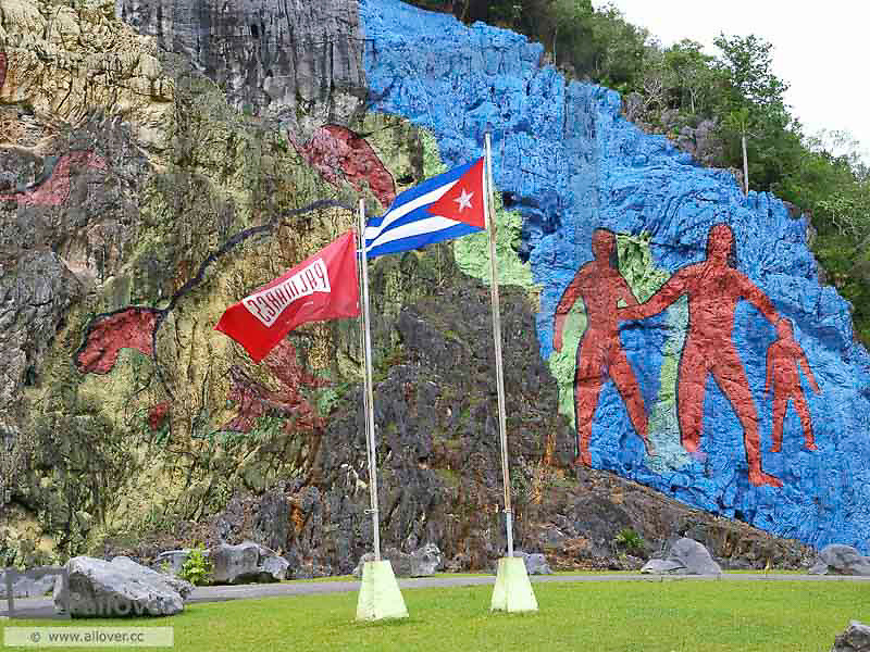 Cuba, rocks painted with prehistoric motives