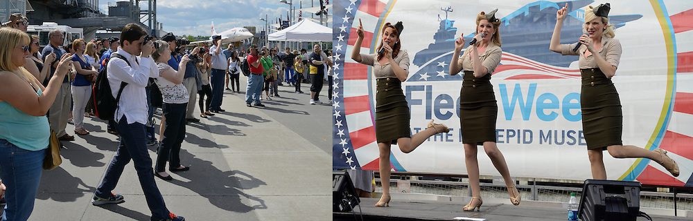 Swing-Style Female Vocal Trio in Intrepid Museum. Memorial Day Concert.