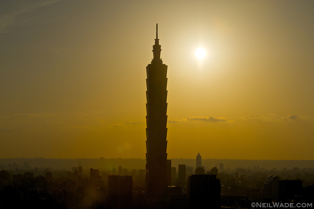 Taipei 101 and Taipei City as seen from Tiger mountain in Taiwan.