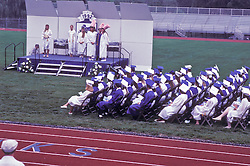 Graduating seniors at ceremony.