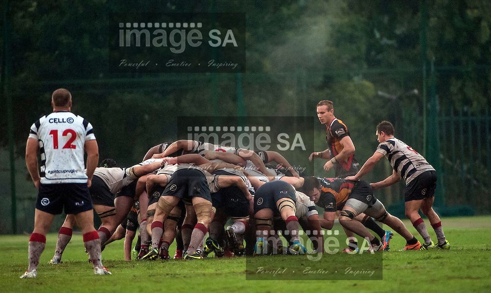 JOHANNESBURG, SOUTH AFRICA - Saturday 21 March 2015, Scrum during the fifth round match of the Cell C Community Cup between Vaseline Wanderers and Aveng Moolmans Sishen at Kent Park, Wanderers Cricket Club, Johannesburg<br /> Photo by Brendan Croft/ ImageSA/SARU