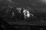 Sunset light on the Stawamus Chief in Squamish, British Columbia, Canada