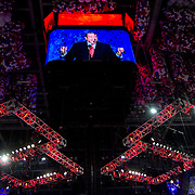 Former Republican candidate Mike Hucakabee addresses the crowd during the Republican National Convention in Tampa Fla.