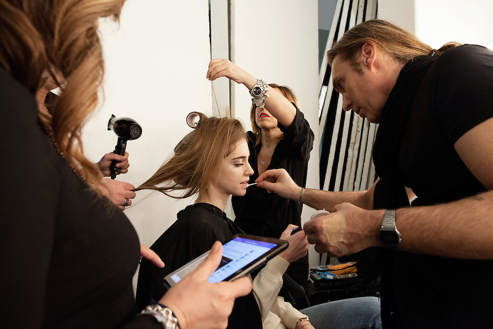Milano, March 3rd, 2015. Italian blogger Chiara Ferragni durign make up for a shooting for Elle Magazine at Superstudio.