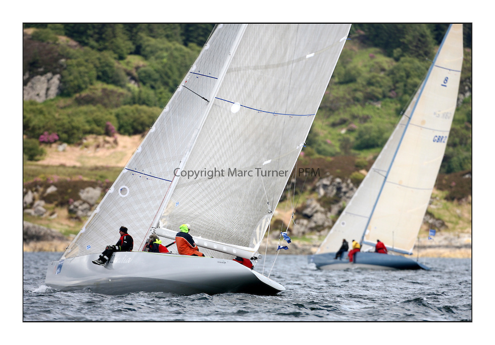 Sailing - The 2007 Bell Lawrie Scottish Series hosted by the Clyde Cruising Club, Tarbert, Loch Fyne..The third days racing on Loch Fyne with a mix of weather from the North and West...NED 1 Hollandia 8 Metre in Class 2.