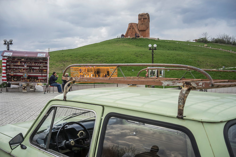 STEPANAKERT, NAGORNO-KARABAKH - APRIL 18: The Tatik Papik monument, a popular symbol of Nagorno-Karabakh, on April 18, 2015 in Stepanakert, Nagorno-Karabakh. Since signing a ceasefire in a war with Azerbaijan in 1994, Nagorno-Karabakh, officially part of Azerbaijan, has functioned as a self-declared independent republic and de facto part of Armenia, with hostilities along the line of contact between Nagorno-Karabakh and Azerbaijan occasionally flaring up and causing casualties. (Photo by Brendan Hoffman/Getty Images) *** Local Caption ***