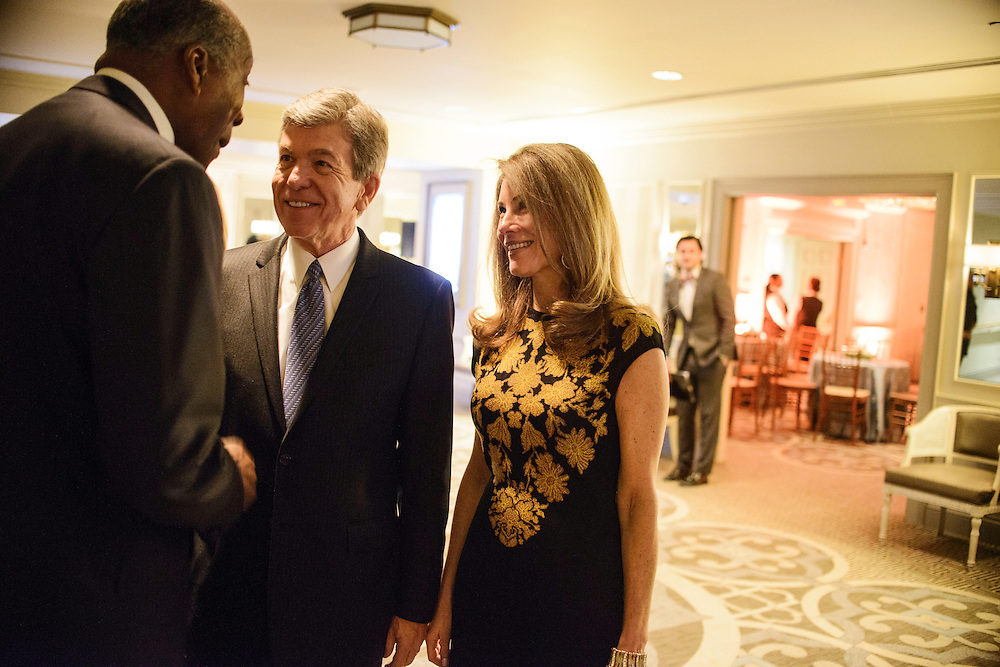 "Photo by Matt Roth.Assignment ID: 10137379A..Senator Roy Blunt and his wife Abigail Blunt are greeted by host Vernon Jordan during the Buffy and Bill Cafritz, Ann and Vernon Jordan, Vicki and Roger Sant inaugural ""Bi-Partisan Celebration"" at the Dolley Madison Ballroom at the Madison Hotel in Washington, D.C. on Sunday, January 20, 2013."