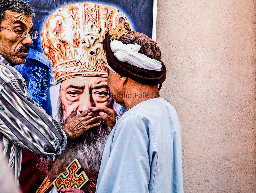 Faithfuls in the monastery of Saint Bishoy where Shenouda, the Pope of the Copts is buried, Wadi Natrum, West Desert