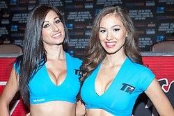 LOS ANGELES, California/USA (Friday, Aug 23 2013) - Tecate and Top Rank ring girls attend the press conference at the Millenium Biltmore Hotel to announce the Chavez jr vs Vera fight next September 28 at the StubHub Center in Carson, CA. Los Angeles,CA USA. 29th August 2013. Fees must be agreed for image use. Byline, credit, TV usage, web usage or linkback must read: © SILVEXPHOTO.COM.